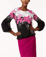 Alfani Petite Printed Bubble-Sleeve Top, Created for Macy's
