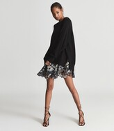 Thumbnail for your product : Reiss Mia - 2-in-1 Fine-knit Jumper & Printed Dress in Black Print