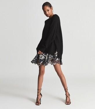 Reiss Mia - 2-in-1 Fine-knit Jumper & Printed Dress in Black Print