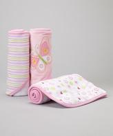SpaSilk Pink Flower Butterfly Hooded Towel Set