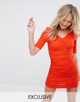Monki Ruched Bodycon Mini Dress