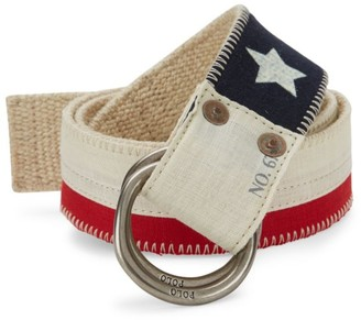 Polo Ralph Lauren Flag Canvas & Leather O-Ring Belt