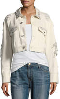 Jonathan Simkhai Embellished Button-Front Cropped Boyfriend Jacket