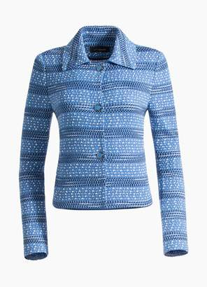 St. John Engineered Coastal Texture Tweed Knit Jacket