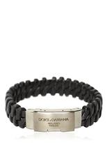 Dolce & Gabbana Woven Leather Plaque Bracelet
