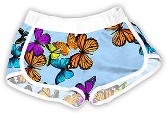 Urban Smalls Girls' Casual Shorts Multi - Aqau & Orange Butterfly Shorts - Toddler & Girls