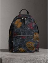 Burberry Leather Trim Beasts Print Backpack
