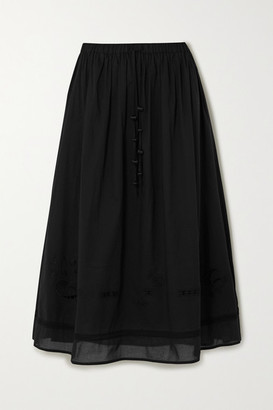 Tory Burch Pleated Embroidered Cotton-gauze Midi Skirt
