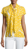 Escada Cap-Sleeve Tie-Neck Printed Top, Pineapple