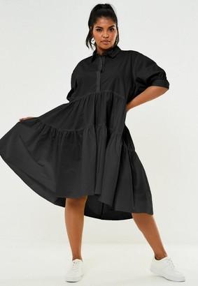 Missguided Plus Size Black Extreme Oversized Smock Shirt Dress