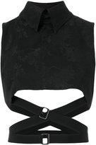 Ann Demeulemeester strapped crop top - women - Linen/Flax/Acrylic/Viscose - 36