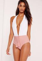 Missguided Halterneck Plunge Swimsuit White