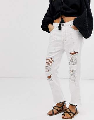 One Teaspoon Hooligans relaxed ripped jeans-White