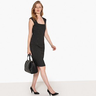 La Redoute Collections Checked Figure-Hugging Work Dress