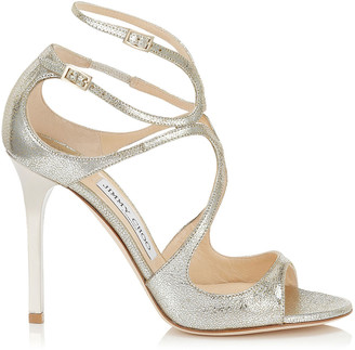 Jimmy Choo LANG Champagne Glitter Leather Strappy Sandals