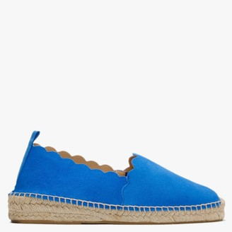 Carmen Saiz Blue Suede Scalloped Edge Espadrilles