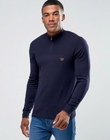 Armani Jeans Jumper With Half Zip In Slim Fit Navy
