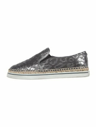 Jimmy Choo Patent Leather Animal Print Espadrilles Silver