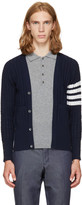 Thom Browne Navy Four Bar Trompe Loeil V-neck Cardigan Polo