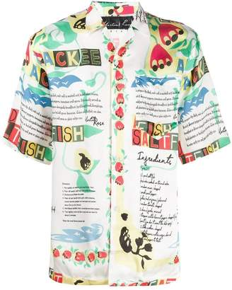 Martine Rose mixed print short sleeve shirt white