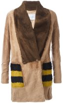 Max Mara striped pockets fur jacket