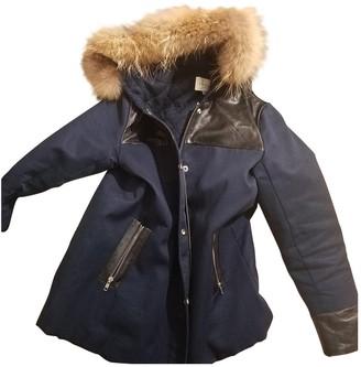 Sandro Blue Leather Coat for Women