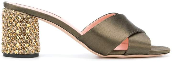 Rochas cross strap embellished heel sandals