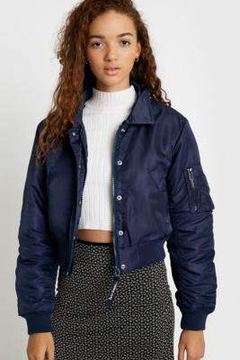 Urban Outfitters Iets Frans... iets frans. Nova Faux Fur Collar Navy Bomber Jacket - blue XS at