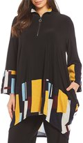 IC Collection Plus Block Print Zipper Front Tunic
