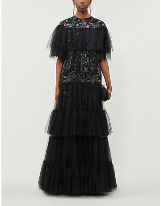 Giambattista Valli Floral-print ruffled silk-blend gown
