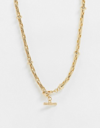 ASOS DESIGN t bar necklace in luxe tube link chain in gold tone
