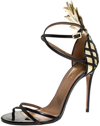 Aquazzura Black/Gold Patent And Leather Pina Colada Ankle Strap Sandals Size 37.5