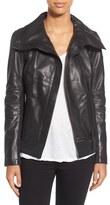 Rudsak 'Presley' Asymmetrical Zip Neoprene & Leather Moto Jacket