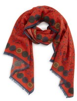 Drakes Men's Small Animal Print Wool Scarf