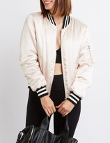 Charlotte Russe Satin Varsity Stripe Bomber Jacket