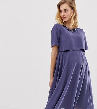 ASOS DESIGN Maternity 3D embellished crop top midi dress