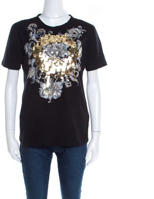 Just Cavalli Black Cotton Jersey Sequin Paillette Embellished T-Shirt M