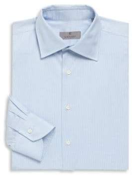 Canali Fine Stripe Cotton Long Sleeve Shirt