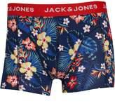Jack and Jones Mens Summer Flower Trunk Boxers Fiery Red