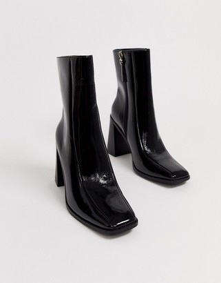 Co Wren square toe block heel ankle boots in black