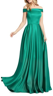 Mac Duggal Off-The-Shoulder Mikado Pleated Gown
