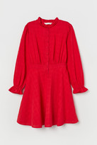 H&M Puff-sleeved Cotton Dress - Red