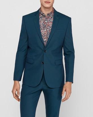 Express Slim Turquoise Cotton-Blend Suit Jacket