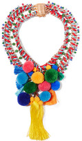 Rosantica Rosita Gold-tone, Quartz And Pompom Necklace - Red