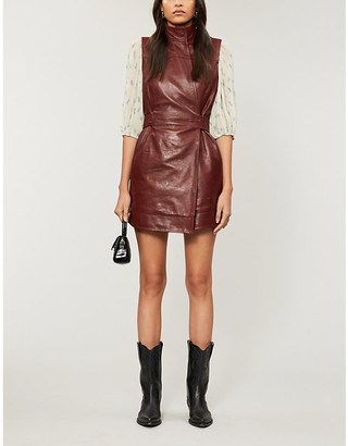 Ganni Sleeveless lamb-leather wrap dress
