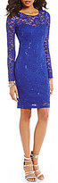 Sequin Hearts lllusion Long-Sleeve Sequin Lace Sheath Dress
