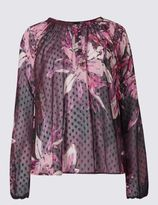 Marks and Spencer Printed Notch Neck Long Sleeve Blouse