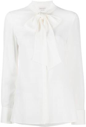 Alexander McQueen Silk Pussy-Bow Long-Sleeve Shirt