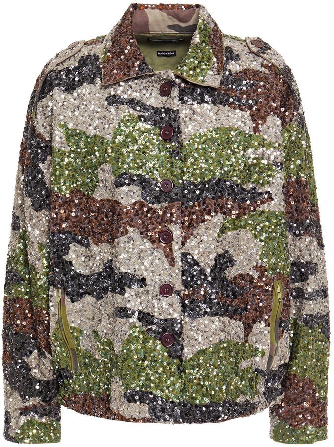 retrofete Camouflage-print Sequined Cotton-canvas Jacket