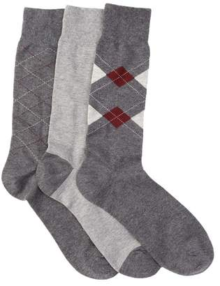Cole Haan Argyle & Lines Crew Socks - Pack of 3